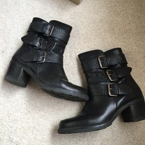 Clark's leather ankle moto buckle boot 7
